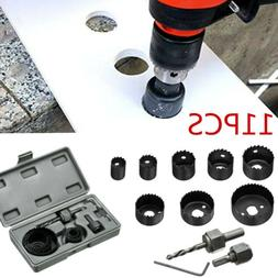 11PCS Hole Saw Drill Bit Kit Mandrel Wood Sheet Metal Plasti
