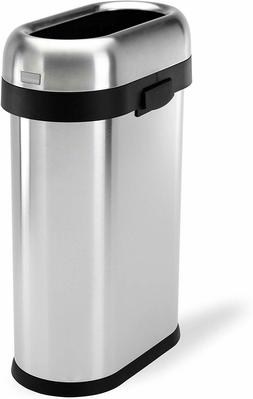 simplehuman 13.2 Gallon Slim Open Top Trash Can Commercial G