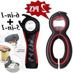 2 Pack Bottle Openers 5 In 1 Jar Opener,6 In 1 Magic Can O