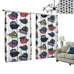 2 Panels Curtain with Hook Owl in Coffee Tea Espresso Mug Cu