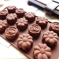 2X 15-Cavity Silicone Flower Rose Chocolate Cake Soap Mold B