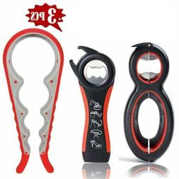 3Pcs Bottle Can And Jar Grip Opener, 5-In-1 And 6-In-1 Multi