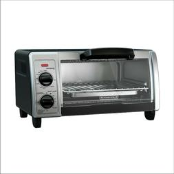 4-Slice Small Toaster Oven, Stainless Steel, Easily fit a 9""