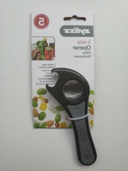 Zyliss 5 Way Opener Black Grey Opens Cans bottles Jars