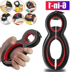 6 In 1 Bottle Opener For Can, Jar, Lid Twisting Off Wine Ope