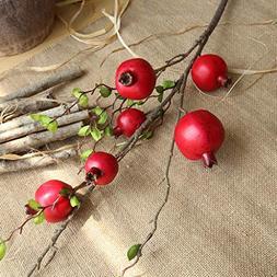 AMSKY Artificial Flowers in Vase,Fake Artificial Rose Fruit