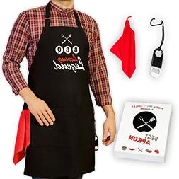 GrilliACS BBQ Aprons for Men, 2 Big Pockets, Bottle Opener &