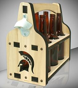 Spartan 6 Pack Wooden Beer Caddy With Bottle Opener - Offici