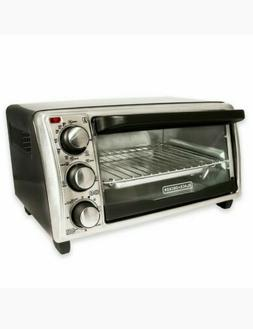 BLACK+DECKER 4-Slice Toaster Oven,baking, broiling, toasting