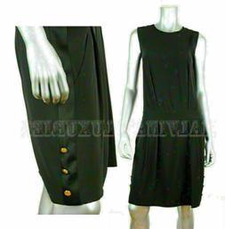 GUCCI BLACK DRESS DROP WAIST LOGO BUTTONS DETAIL LBD $1,495
