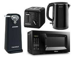 Black Set Kettle Toaster Electric Can Opener & Digital Micro