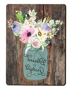 Blessed & Grateful Floral Mason Jar Wood Look 3 x 4 Inch Woo
