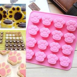 Cat Dog Paw Print Silicone Cookie Cake Candy Chocolate Mold