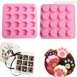 Cat Dog Paw Print Silicone Cookie Candy Chocolate Ice Cube C