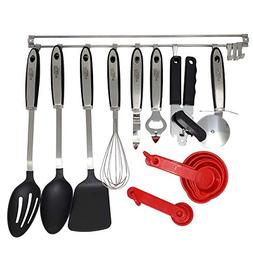 20pc Cooking Utensil Kitchen Set Gadget Hanging Rack Set Slo