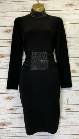 FRANK LYMAN Design LBD Black Embellished Stretch Dress Sz US
