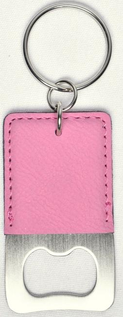 Durable Keychain Bottle Opener Pink Leather on Stainless Ste