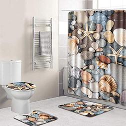AMSKY Festival Gift Led,4PCS Sea Style Non Slip Toilet Polye