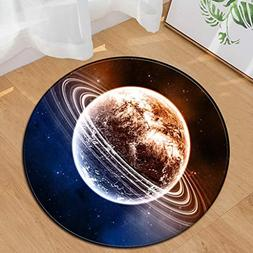 AMSKY Floor Mat for High Chair,Space Star Earth Design Round