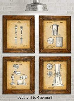 Original Kitchen Patent Art Prints - Set of Four Photos  Unf