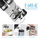 3-in-1 Home Can Opener and Bottle Cap Opener with Stainless