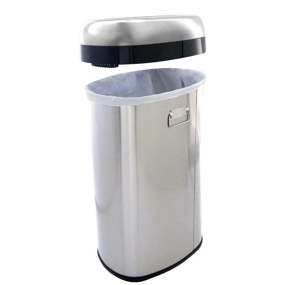 16 Oval Open Top Steel Trash Can Recycle Bin