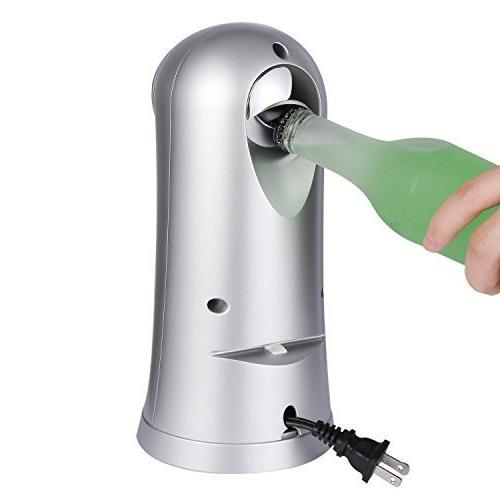 Electric Can Opener Bottle Opener Pop Opener for All Smooth Can Opener, Chrome
