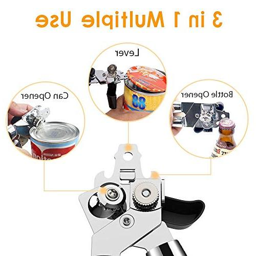 Can Opener Manual Edge,Food-Safe Stainless Openers for Veriety Cans,Built with Easy Big Knob Slip Handles,Ideal for Seniors and Arthritis