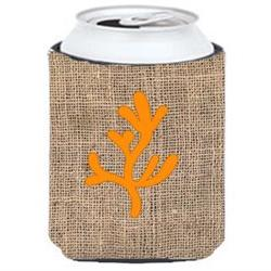 Coral Burlap and Orange Can or Bottle Beverage Insulator Hug