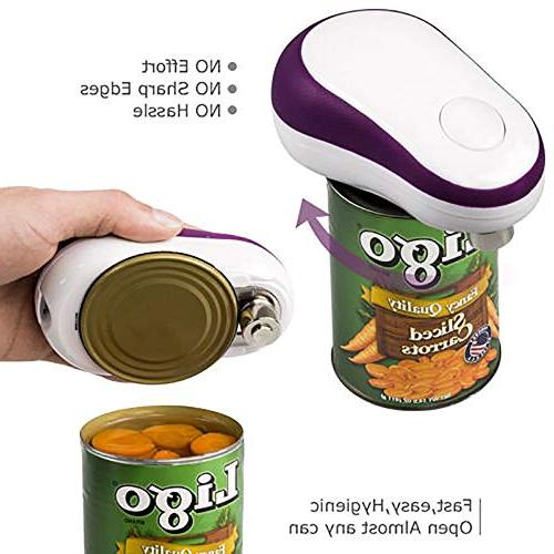 Electric Can Automatic Can Opener, Button Opener, Purple