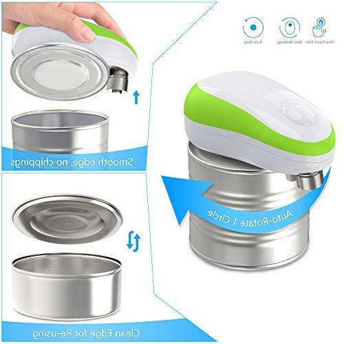 Electric Restaurant can opener, Smooth Edge Automatic Can Opener Seniors Arthritis, Green