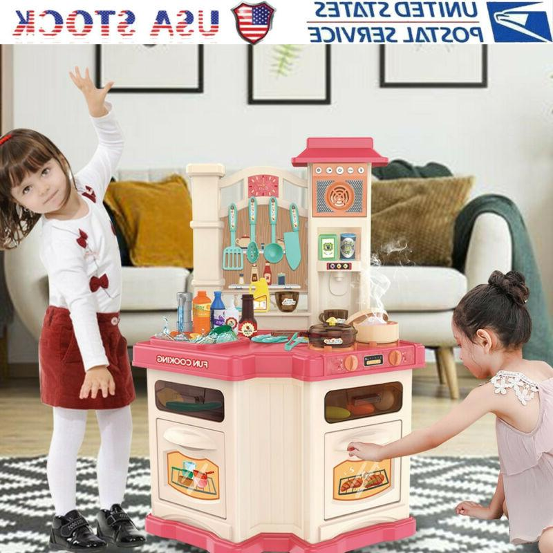 Girl Role Play Toy Kids Kitchen Cooking Playset Plastic Real