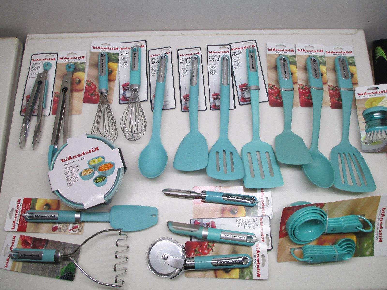 KitchenAid kitchen utensils and towels in aqua sky