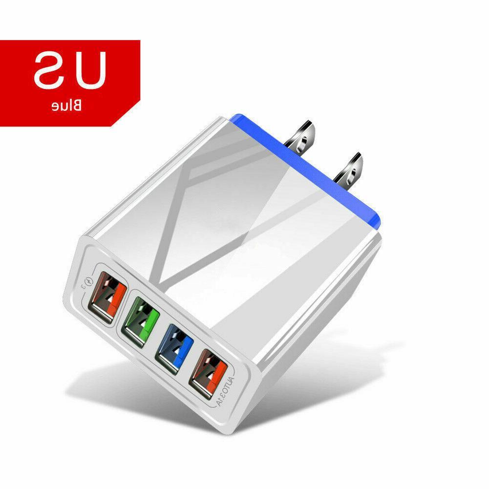 4 Fast Quick Charge USB Hub Power US Plug