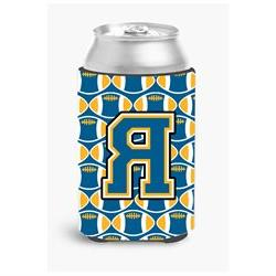 Letter R Football Blue and Gold Can or Bottle Hugger CJ1077-