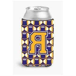 Letter R Football Purple and Gold Can or Bottle Hugger CJ106