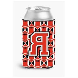 Letter R Football Scarlet and Grey Can or Bottle Hugger CJ10