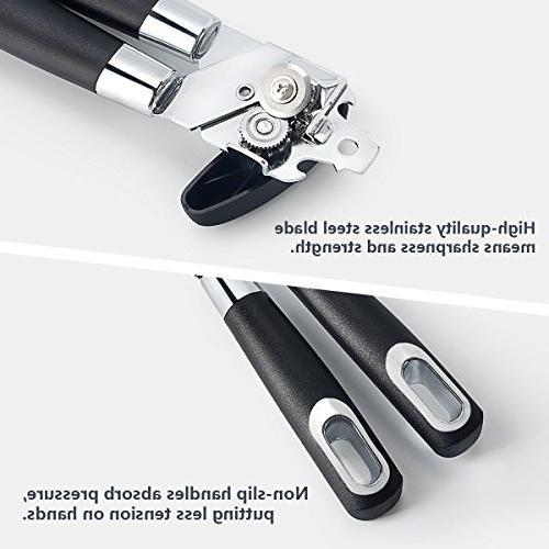 【Updated Manual Can Opener, Premium Built in Blades FDA Approved, Easy Turn Knob Ergonomic Anti-slip Handles