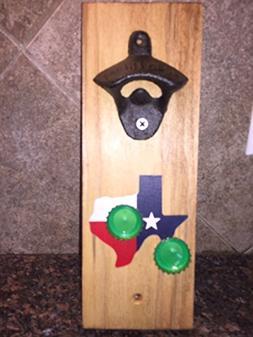 """Magnetic Cap Catcher Bottle Opener - """"Texas"""" design"""