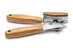 Manual Can Opener - Stainless Steel with Bamboo Wooden Handl
