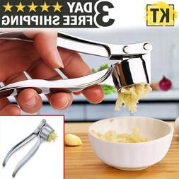 Metal Garlic Press Crusher Mincer Chopper Peeler Squeeze Cut