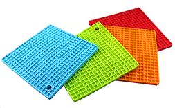 4PCS Multipurpose Silicone Drying Mat, Silicone Pot Holders,