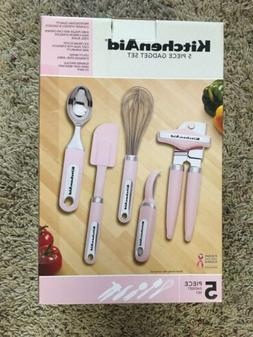 NEW PINK Kitchen AidGadget Utensil Set Scoop Whisk Can Opene