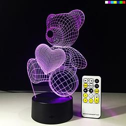 Night Lights for Kids Teddy Bear 7 Colors Change with Remote