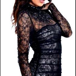NWT bebe black lace beaded stud embellished mock neck mesh t