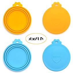 FRETOD Pet Can Lids - 4 Pack - BPA Free Silicone Cat Dog Foo