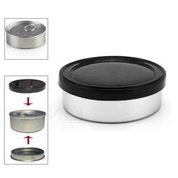 100mL 3.5g Self Seal Tin Can Pop Top Black Lid Tuna PressItI
