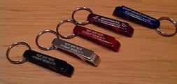 Qty 1- Personalized Key Chain Bottle and Can Opener - Laser
