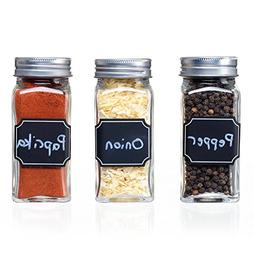 Set of 12 Square Glass Spice Jars with Shaker Tops, Chalkboa