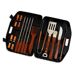 18pcs Stainless-Steel Wood Handle Barbecue BBQ Tool Set with